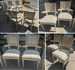 Set Of 6 French Antique King Louis Arm Chairs Dining Refinished Shabby Chic Rare