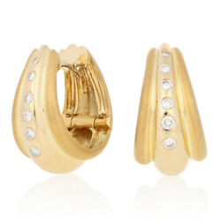.25ctw Round Brilliant Diamond Earrings -18k Gold Polished And Matte Pierced Hoops