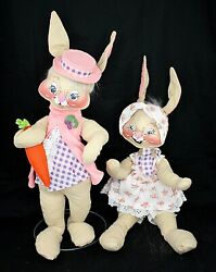 True Vintage 1975-1981 Annalee Easter Bunny Bunnies Rabbits 22+ Inches Standing