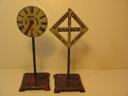 Two Vintage Metal 6 Inch Model Railroad Signs