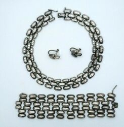Vintage Sterling Silver Peru Matching Necklace, Bracelet And Earrings Set Peruvian