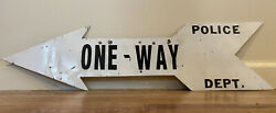 C1916 Vintage One Way Traffic Street Sign Antique Nyc Police Dept Ny