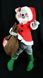 Adorable Large Annalee Santa Mouse W/bag True Vintage 32+ Tall W/stand C1971