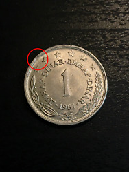 1 Dinar 1981 Yugoslavia With Errors / Defects