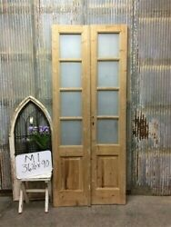 8 Pane French Glass Doors, Antique French Double Doors, Old Wood Doors, M1
