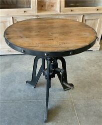Modern Industrial Iron Age Crank Table Round Bar Table Kitchen Island Table