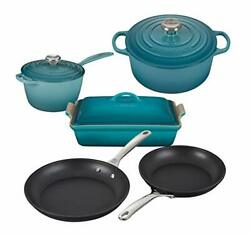 Le Creuset 8 Piece Multi-purpose Enameled Cast Iron With Ss Knobs Stoneware An