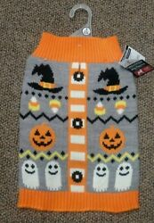 NEW NWT HALLOWEEN DOG SWEATER small COSTUME PUMPKIN WITCH GHOST CANDY CORN