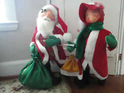 Vintage 1998 Annalee Santa Time To Fly And Mrs Claus Shopping 30 Christmas Dolls