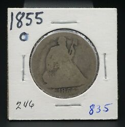 1855-o Silver Seated Liberty Half Dollar Reeded Edge 50c New Orleans Rare M1374