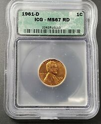 1961 D Lincoln Memorial Cent Penny Ms67 Icg Vintage Nice Icg Case Nice Coin