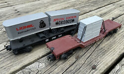 Mth Depressed Flat Wagon And Lionel 1983 Special Edition Flat Car W/ Loads