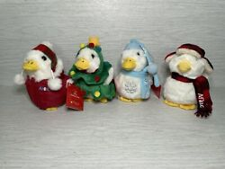 Lot Of 4 Aflac Christmas Holiday Ducks 2008 2009 2010 2011 6 3 Are Nwt