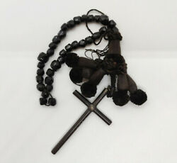 Orthodox Rosary Or Prayer Rope. Jet, Silk And Wood. Probably Russian. 19th Centu