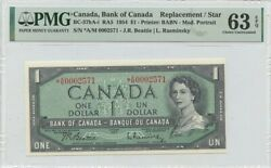 1954 1 Bank Of Canada A/m Replacement Star Bc-37ba-i Pmg Ch63 Epq