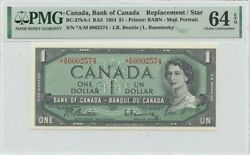 1954 1 Bank Of Canada A/m Replacement Star Bc-37ba-i Pmg Ch64 Epq