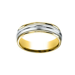 14k Two-toned 6mm Comfort-fit Polished Carved Menand039s Band Ring Size 10