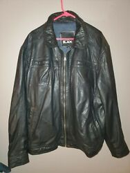 Westport Black Men's Big And Tall Black Soft Leather Collared Jacket Size 2xl