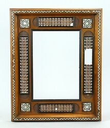 =antique 1800and039s Picture Frame Carved Wood With Mop Inlay Egypt
