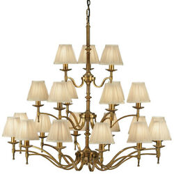 Avery Ceiling Pendant Chandelier Light–21 Lamp Antique Brass And Beige Pleat Shade