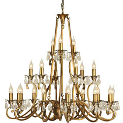 Esher Ceiling Pendant Chandelier Antique Brass And Crystal Curved 21 Lamp Light