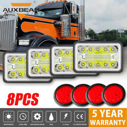 4pcs 4x6 Led Headlights And 4 Round Trailer Tail Brake Light For Freightliner