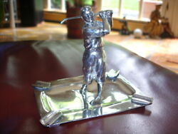 Antique 1920and039s Gene Sarazen Knickered Golfer Figure Ash Tray Silver Plate