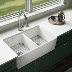 Elkay Swuf32189whfc Fireclay Double Bowl Farmhouse Sink Kit With Faucet, 33.