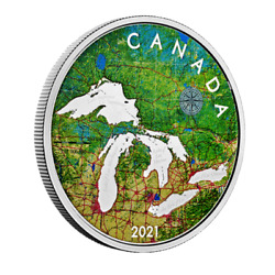 🇨🇦 Rare Canada Great Lakes Silver 50 Dollars Coin, 5 Oz, Colorized, 2021