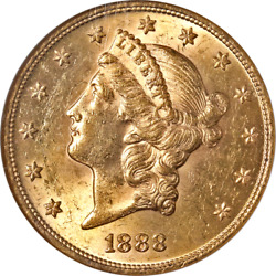 1888-p Liberty Gold 20 Ngc Ms62 Superb Eye Appeal Strong Strike