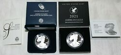 Two U.s. Mint 2021 W American Silver Eagle One Ounce Proof Coins Type 1 And Type 2