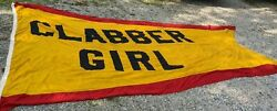 Huge 15and039 Clabber Girl Antique Annin Banner Flag Sign Terre Haute Indy 500 Hulman