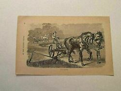 Kp192 Horse Drawn Lawn Mower Grass American Agricultural Tool 1879 Engraving