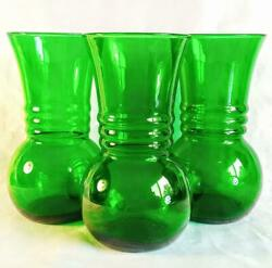 Lot Of 3 Anchor-hocking Forest Green Rib-necked Depression Glass Vases
