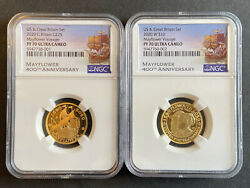 2020 400th Anniversary Mayflower 2 Coin Gold Set Pf 70 Ultra Cameo Us And Royal
