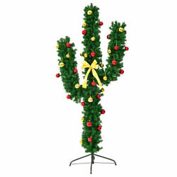 6' Pre-lit Cactus Artificial Christmas Tree W/led Lights And Ball Ornaments