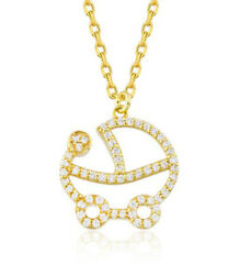 1.20ct Round Diamond 14k Solid Yellow Gold Baby Stroller Carriage Pendant