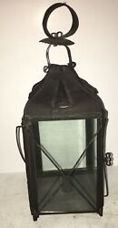 Fine Antique Tin And Glass Candle Lantern Cleated Bottom Aafa 19th Century