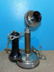 Dean Electric Co. Chrome Candlestick Telephone Receiver Works No dial
