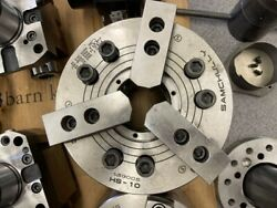 Samchully 10 Hs-10 Hydraulic 3-jaw Chuck With Soft Jaws, Chip Guard And Wrench