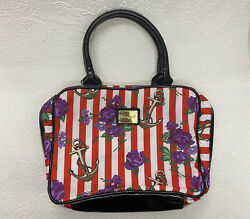 Betsey Johnson Betseyville Makeup Cosmetic Bag Large Roses And Anchor Striped $22.00