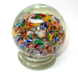Vintage Art Glass Hard Cane Candy Paperweight
