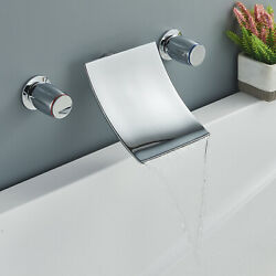 Bathroom Sink Faucet Waterfall Chrome 2-handle Tub Filler Tap Wall-mount 8-16 In