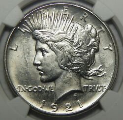1921 High Relief Ngc Ms63 Peace Dollar