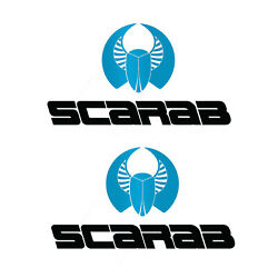 Set Of 2 Marine Grade Vinyl Decals Fits Scarab Boat Hull. Mailed W/tracking