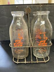 Vintage Lucky's One Quart Milk And Ice Cream 4 Bottle And Carrier Stockton Ca