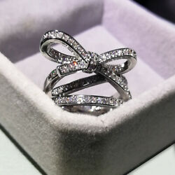 925 Sterling Silver Female Ring Bow Knot Aaaa Cubic Zirconia High-end Size 10