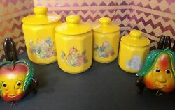 Vintage Fruit Themed Kitchen Decor Kromex Tin Canisters, And Chalkware Wall Art