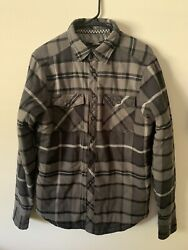 Fox Racing/riders Black/gray Plaid Flannel Button Front Lined Shirt Jacket Men M