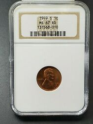 1949 S 1c Lincoln Wheat Cent Penny Coin Ngc Ms67 Red Rd
